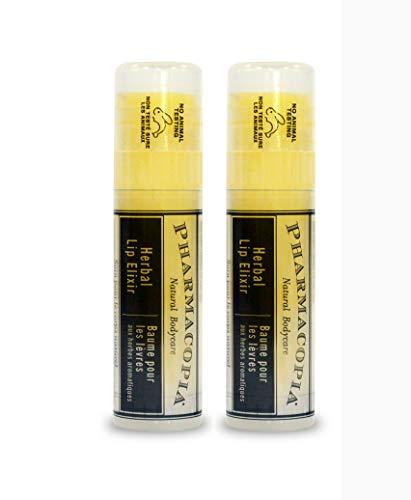 Pharmacopia Tangerine-Flavored Lip Balm - Set of 2, 0.25oz - Nourishing Herbal Lip Elixir with 100% Natural and Certified Organic Ingredients