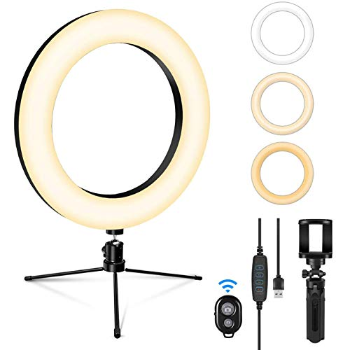 "SEBIDER 8"" LED Selfie Ring Light with Tripod Stand & Phone Holder, Dimmable Desktop Ring Light with 3 Light Modes & 13 Brightness for Live Stream/Makeup/YouTube/TikTok/Photography Shooting"