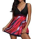 Women Plus Size Gradient Tankini Swim jupmsuit Swimsuit Beachwear Padded Swimwear