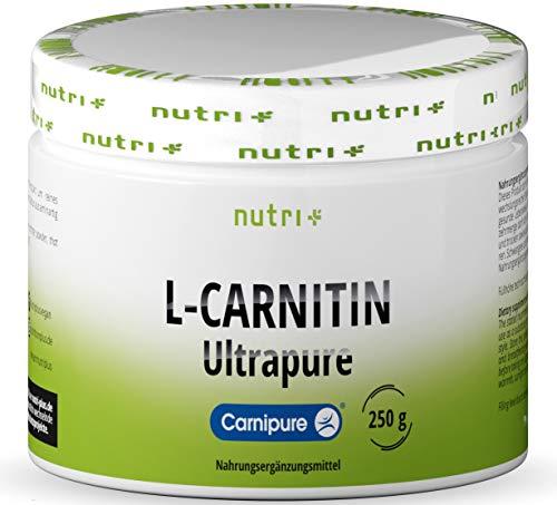 L-CARNITIN Carnipure Pulver - 100{94aca3b7168f96eb753b8544cf8f3e4b1336d2f8dfd84ef65a9e29d4db059660} reines L-Carnitine Tartrat Ultrapure Powder 250g von Lonza - 3000mg Carnitinpulver pro Portion ohne Zusatzstoffe - Nutri-Plus Vegan