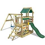 WICKEY Parco giochi in legno TurboFlyer Giochi da giardino con altalena e scivolo verde, Torre d'arrampicata da esterno con sabbiera e scala di risalita per bambini