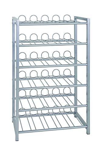 Haku Mbel, Porta Bottiglie in Alluminio, 31 x 54 x 90 cm, argento, metallo