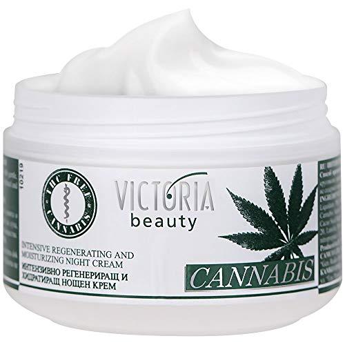 Victoria Beauty - Hanfcreme - Cannabis Nachtcreme - Anti-Aging Augencreme gegen Falten und dunkle Augenringe - 2 x 50ml