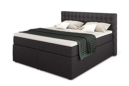 King Boxspringbett 180x200 mit 7-Zonen TFK Härtegrad H3 und 10 cm V2-Topper   Farbe Anthrazit   140-200 x 200 cm verfügbar   Wahlweise mit Bettkasten