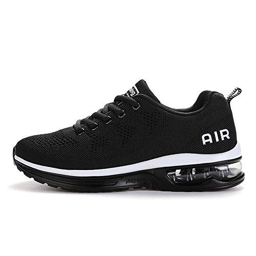 Axcone Hombre Mujer Zapatillas de Correr Casual Aire Libre Deporte Fitness Zapatillas de Running para Deportivos Entrenamiento-Blanco Negro 36
