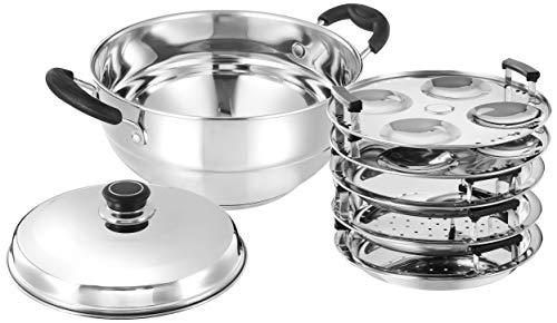 Amazon Brand - Solimo Stainless Steel Induction Bottom Multi Kadhai with 5 plates(idli, Dhokla and...
