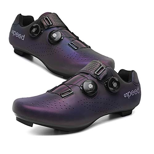 Yutoey Mens or Womens 2021 Road Bike Cycling Shoes Compatible with SPD/SPD-SL Cleats for Indoor Exercise Cycling Shoes for Women Lock Pedal Bike Shoes Purple