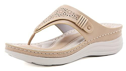 INMINPIN Chanclas de Cuña Mujer Verano Elegante Sandalias de Dedo Cuero Cómodo Plataforma Flip Flop Zapatillas de Playa Interior y Exterior,Caqui,37 Mujer