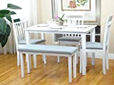 Rattan Wicker Furniture 5 Pc Dining Kitchen Set of Rectangular Table and 3 Chairs Warm 1 Stained Bench Classic Style Solid Wood in White Finish