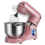 Aucma Stand Mixer,6.5-QT 660W 6-Speed Tilt-Head Food Mixer, Kitchen Electric Mixer with Dough Hook, Wire Whip & Beater (6.5QT, Pink)