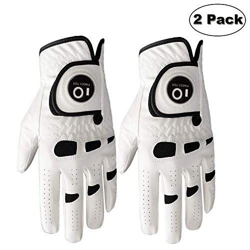 Finger Ten Guanto da Golf da Uomo, Mano Sinistra Destra con Ball Marker Value 2 Pack, Weathersof...