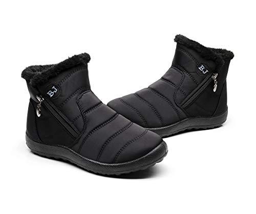 Botas de Nieve Zapatos Mujer,Popoti Botas de Nieve Cremallera Calientes Botines Forradas Cortas Ankle Boots Algodón Zapatos Invierno Aire Libre Sport Botines (Negro-1, 40)