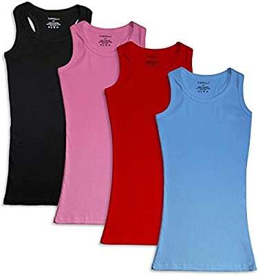 4 PIECE TANK TOP PACK: Save money and perfect your looks with the purchase of one of our women's workout tanks! Since just one tank top is never enough, we are including (4) ribbed cami tank tops for women in each of our value packs. 100% COTTON WOME...