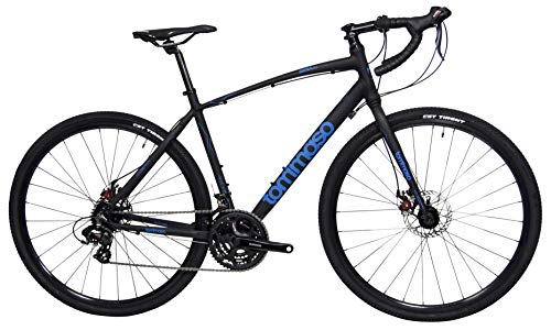 Tommaso Siena Shimano Tourney Gravel Adventure Bike with Disc Brakes, Extra Wide Tires, Perfect for Road Or Dirt Touring, Matte Black