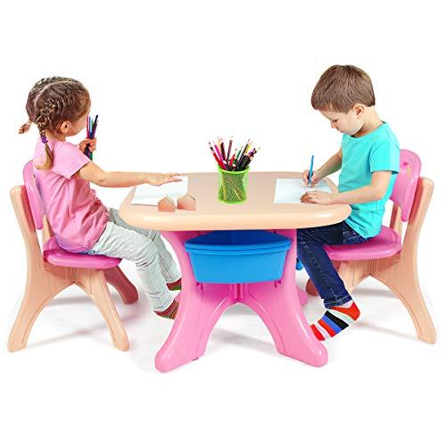 COSTWAY Set Tavolo e Sedie per Bambini, 1 Tavolino e 2 Sedie, capacit di Peso 80kg, Contenitore...