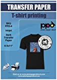 PPD Inkjet Iron-On Dark T Shirt Transfers Paper LTR 8.5x11' Pack of 20 Sheets (PPD004-20)