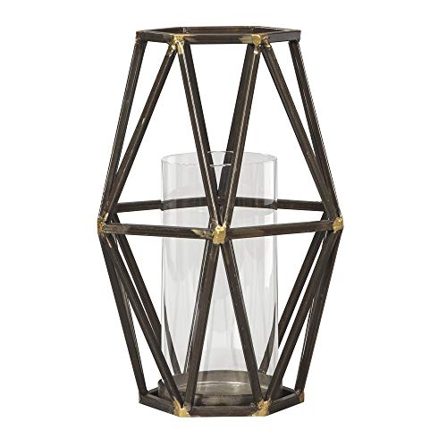 Ashley Devo 12' Metal and Glass Candle Holder in Black and Gold