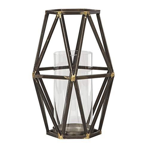 Ashley Furniture Signature Design - Devo Candle Holder - 9' W x 9' D x 12' H - Black/Gold Finish - 1 Candle Holder