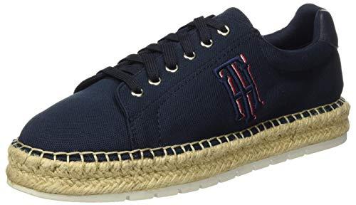 Tommy Hilfiger Nautical TH Lace Up Espadrille, Zapatos de tacón con Punta Abierta para Mujer, Azul (Desert Sky Dw5), 41 EU