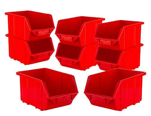 BigDean Stapelboxen Set 8 Stück Rot klein 110x165x75mm - Kunststoff Sichtlagerkasten stapelbar - perfekt für Ordnung in Werkstatt & Garage
