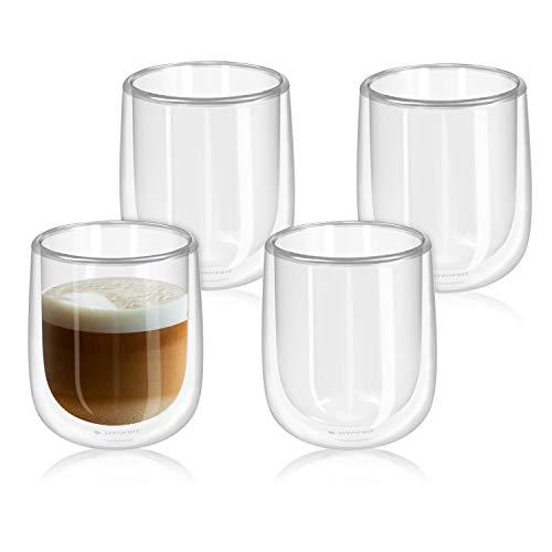 Navaris 4X Bicchiere in Vetro borosilicato - Capienza 350ml Doppio Strato - Set 4 Bicchieri Trasparenti in Vetro - Soffiati a Mano - per tè caffè