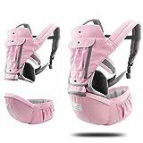 XYLZDPZ Syczdyebd Carrier de bebé Mochila Ergonómica 360 Carrier Sling Hipseat Cómodo Air Malla Frente Atrás Hip Asiento Infantil Kangaroos Bolsa Fular portabebe (Color : Pink)