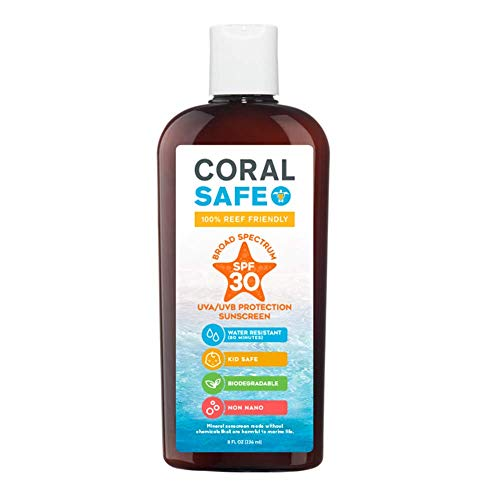Coral Safe All Natural Biodegradable Sunscreen, SPF 30, Reef Safe, Water Resistant, Approved for Snorkeling and Scuba Diving, 8 Fl Oz
