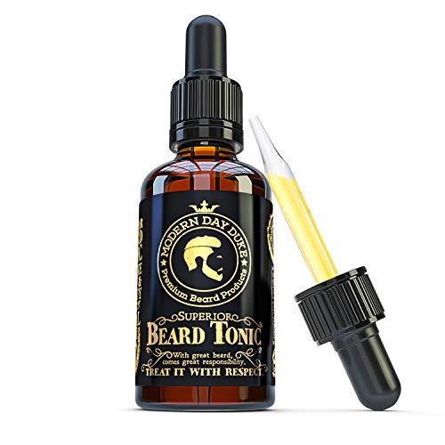 Olio per barba per uomo - Olio per la crescita della barba superiore grande 50ml, con olio di Argan, cocco e patchouli - Miglior olio per barba per barbe più spesse e piene