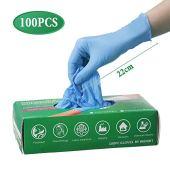 Slimerence Guanti medici monouso in nitrile, alimenti senza polvere, strutturati, industria chimica domestica, scatola blu da 100 L