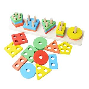 Geometric Blocks Building Stacker Shape toy | Puzzle Stacking Set for Kids
