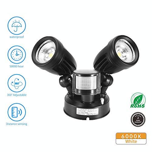LED Strahler mit Bewegungsmelder,Comaie 30W Dual Kopf Lampe mit Bewegungsmelder Aussen 2700 lm Superhell LED Fluter IP54 Wasserdicht Außenstrahler Flutlichtstrahler Scheinwerfer Licht (Weiß)