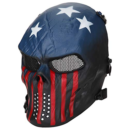 BeyongGear Airsoft Mask, BB Tactical Cs War Game Outdoor Cosplay Halloween Skull Skeleton Full Face Anti Fog Eye Kids with Metal Mesh Protection