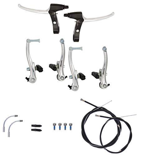 P4B   Komplettes V-Brake Bremsen Set - für vorne und hinten   Bremsarme 110 mm mit linearer Feder   Geeignet für 16-28 Zoll   Bremsanlage für BMX, MTB, Trekking, Citybike, Kinderfahrrad