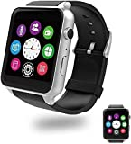 Evershop Smart Watch Bluetooth Touchscreen Smartwatch Waterproof Sports Fitness Tracker Sleep Heart Rate Monitor Wrist Watch Dual Card Slot HD Camera Compatible with Android and iOS Phone (Silver)