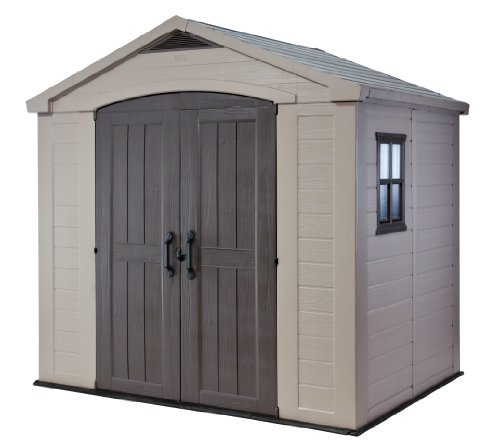 Keter Factor 8x6 Large Resin Outdoor Shed for Patio Furniture, Lawn...