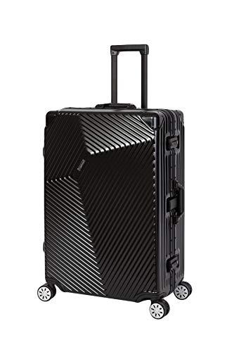 Travelhouse Roma Koffer Schwarz L-77cm · Alu Rahmen · Polykarbonat Hartschale · Trolley Reisekoffer Reisegepäck · 2X TSA Zahlenschloss · 4 Doppelräder · 360°Rollen · Marken-Qualität · Vol. 108L