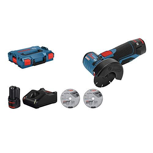 Bosch Professional Meuleuse d'angle Sans Fil GWS 12V-76 (Batterie 2x 3,0Ah, 12V, Ø de Perçage:10mm, dans Coffret L-Boxx)