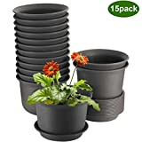 Flower Pots, ZOUTOG 6 inch Plastic Planters with Drainage Hole and Tray, Pack of 15 - Plants Not Included, Brown