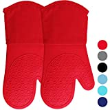 HOMWE Extra Long Professional Silicone Oven Mitt, Oven Mitts with Quilted Liner, Heat Resistant Pot Holders, Flexible Oven Gloves, Canyon Red, 1 Pair, 13.7 Inch