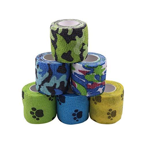 Houdao 6 rotoli di bende autoadesive nastro adesivo veterinario per cani e cavalli bende elastiche sportive coesive 5 m per dito polso, ginocchio, caviglia e protezione sportiva