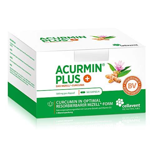 Kurkuma Kapseln hochdosiert von Acurmin PLUS – mizellares Curcumin + Vitamin D3 – ohne Piperin – C14 – 180 Kapseln