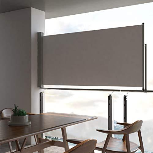 Festnight Ausziehbare Seitenmarkise 120 x 300 cm Grau | Windschutz Sichtschutz Sonnenschutz | Seitenwandmarkise Seitenrollo für Balkon Terrasse Garten