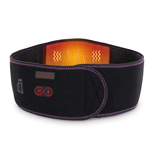 HUNT HEAT Heating Waist Belt, Portable Cordless Heated Massage Back Wrap with Vibration -7.4V Rechargeable Battery Operated Heating Therapy -for Abdominal and Back Pain Relief Lumbar Spine Arthritis