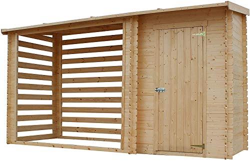 TIMBELA M205 Casetta da Giardino in Legno per Esterni con legnaia- A199x344x130 cm - 2,54 m2+1,1 m2 - Piccola Casetta in Legno, Rimessa Attrezzi, Deposito Bici