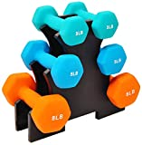 Sporzon! Colored Neoprene Coated Dumbbell Set with Stand, Multiple