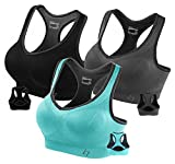 FITTIN Racerback Sports Bras - Pack of 3 - Padded Seamless High Impact Support For Yoga Gym Workout Fitness, Grey/Black/Aqua, XXL