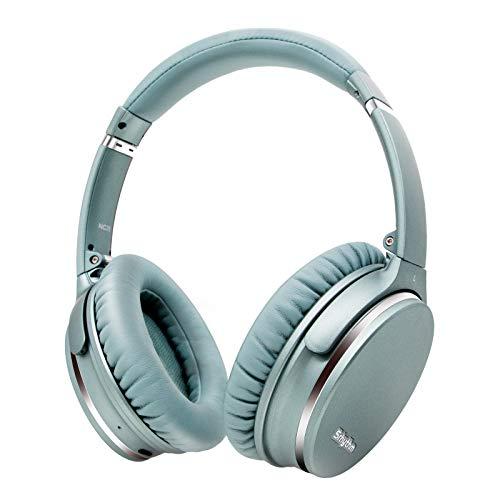 Cuffie Cancellazione del Rumore Wireless Bluetooth 5.0, Srhythm NC35 Auricolare Leggero a Carica Rapida Over-ear con microfono CVC8.0, Mega Bass 40+ ore di Riproduzione - Bassa latenza (Menta-Verde)