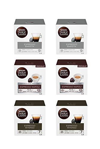 Nescafé Dolce Gusto Kit Degustazione di Caffè Espresso Barista, Espresso Napoli ed Espresso Intenso, 6 Confezioni da 16 Capsule, Totale 96 Capsule