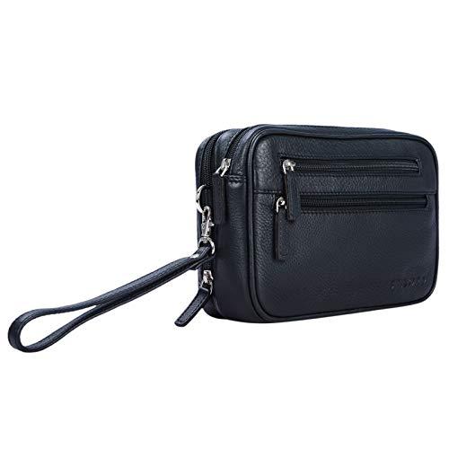STILORD \'Nero\' Handgelenktasche Herren Leder mit Doppelkammer Vintage Handtasche für 8,4 Zoll Tablets ideal für Reisen Festival Herrenhandtasche echtes Leder, Farbe:schwarz
