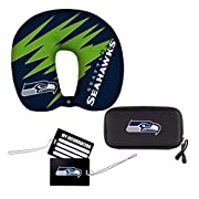 """All items feature printed team graphics Neck pillow is soft, stretchy and comfortable; tags feature 6"""" PVC ties for secure attachment to bags and allow for personal info on back; cord case protects contents from impact/damage and has 2 interior mesh ..."""